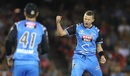 Peter Siddle exults after dismissing Tim Ludeman, Melbourne Renegades v Adelaide Strikers, BBL 2017-18 Melbourne, January 22, 2018