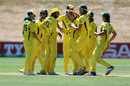 Lloyd Pope is at the center of celebrations during his record-setting spell of 8 for 35, Australia v England, Under-19 World Cup, quarter-final, Queenstown, January 23, 2018