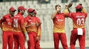Kyle Jarvis celebrates Anamul Haque's wicket with his team-mates, Bangladesh v Zimbabwe, Tri-nation series, Mirpur, January 23, 2018