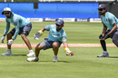 Dinesh Karthik attempts a catch in the presence of KL Rahul and M Vijay, Johannesburg, January 23, 2018