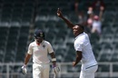 Lungi Ngidi turns to point to his parents after a dismissal, South Africa v India, 3rd Test, Johannesburg, 1st day, January 24, 2018