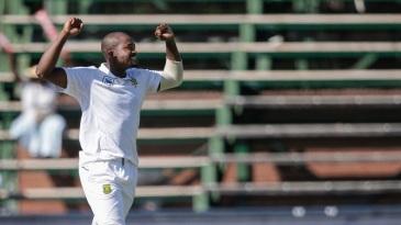 Andile Phehlukwayo celebrates a wicket