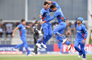 Mujeeb Zadran (right) is thrilled after taking a wicket, New Zealand v Afghanistan, Under-19 World Cup, quarter-final, Christchurch, January 25, 2018