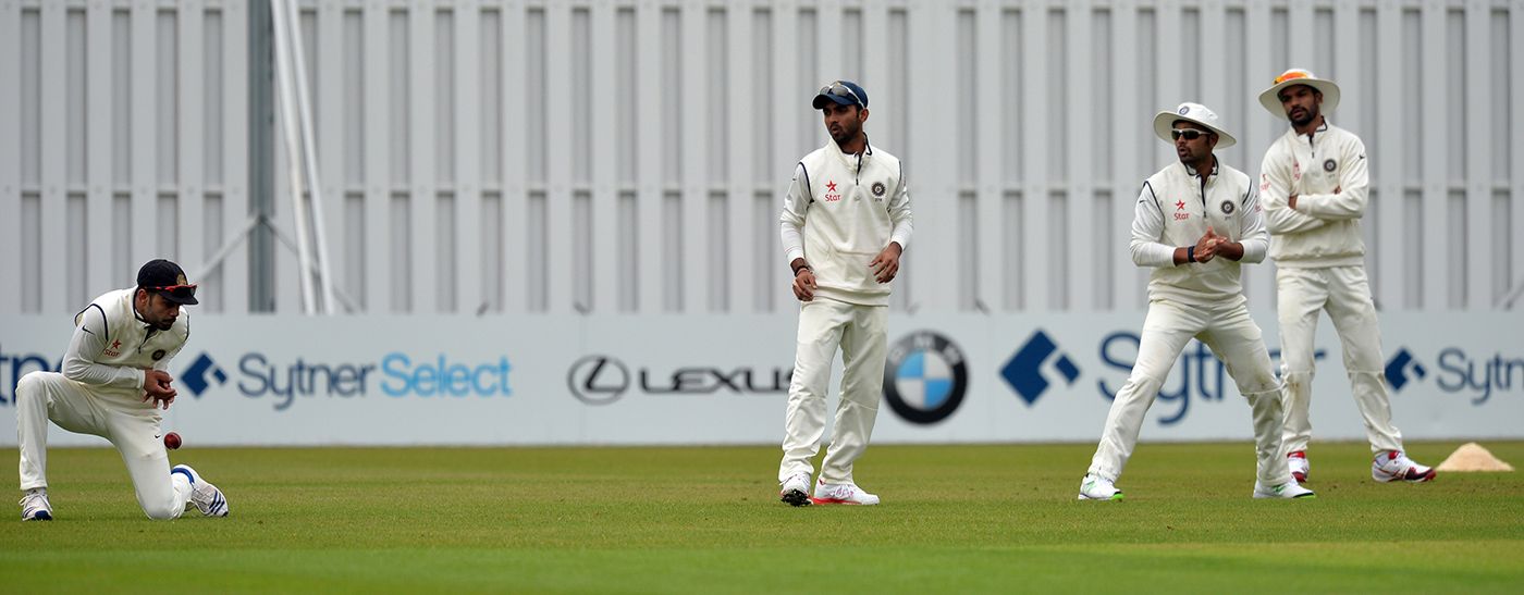 Kohli drops one. Did he have his hands on his knees as the catch came to him?