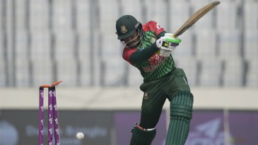 Anamul Haque was bowled off an inside edge