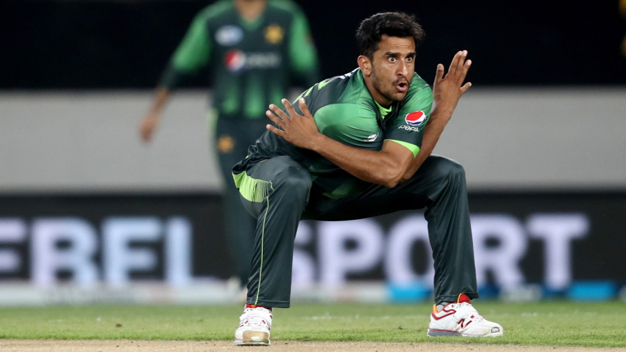 Hasan Ali is pumped up after taking a wicket