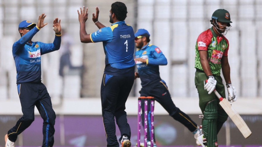 Thisara Perera finished with 2 for 27, including the wicket of Abul Hasan