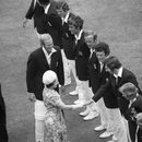 The England players are introduced to the Queen. From top left: Bob Woolmer, Pat Pocock, Mike Brearley, Derek Underwood, John Snow, Chris Old, Barry Wood, Alan Knott and David Steele. England v West Indies, second Test, day four, Lord's, June 21, 1976
