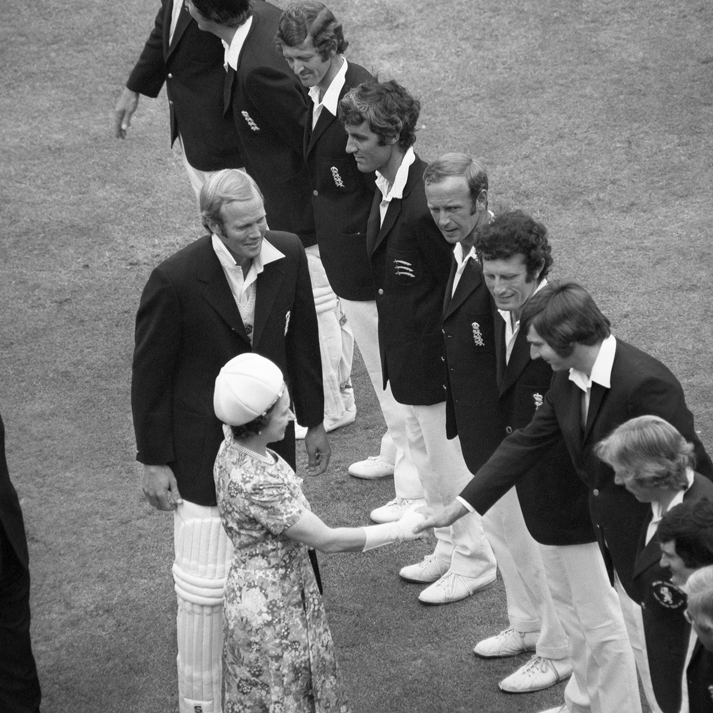 Tony Greig introduces his men to the Queen. Snow is to the right of Chris Old, shaking the Queen's hand