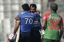 Upul Tharanga and Danushka Gunathilaka embrace after Sri Lanka's win, Bangladesh v Sri Lanka, tri-series, Dhaka, January 25, 2018