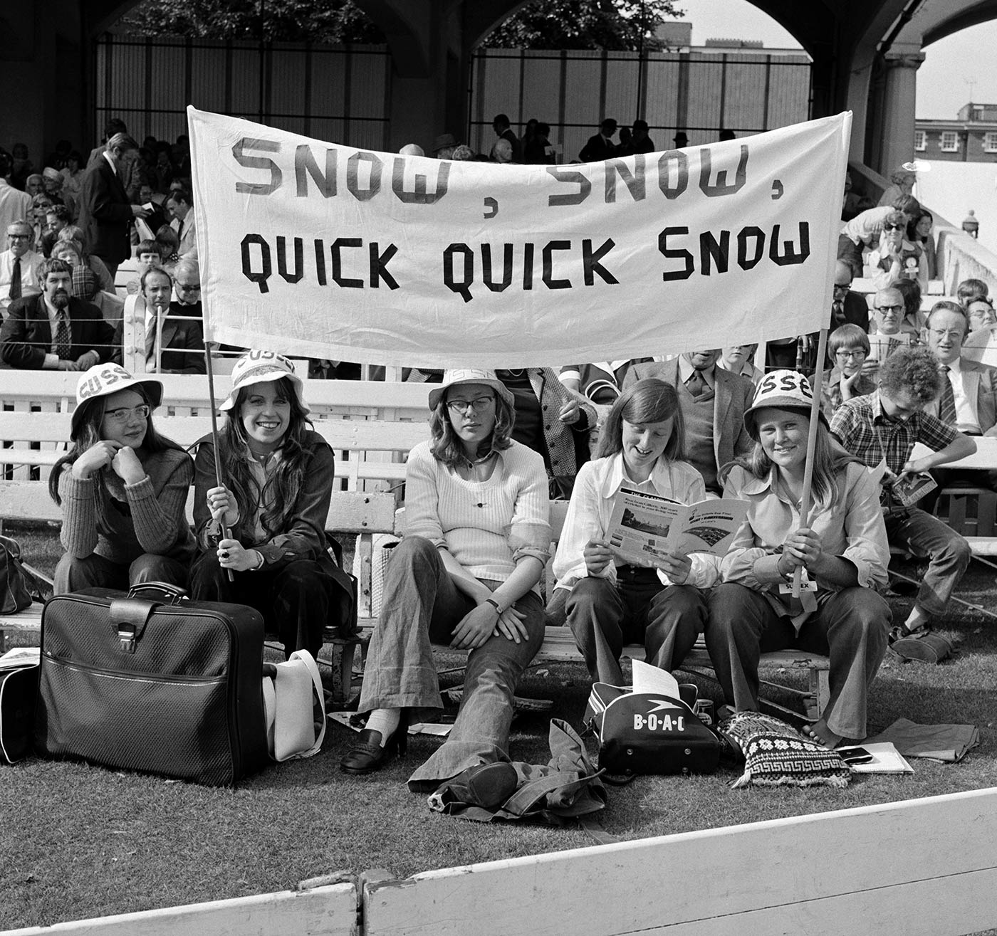 A group of Sussex fans make it clear who they're there to see at the Gillette Cup final in 1973
