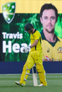 Travis Head walks off after falling four runs short of a hundred, Australia v England, 4th ODI, Adelaide, January 26, 2018