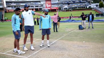 Ishant Sharma, Jasprit Bumrah and Mohammed Shami take a look at the pitch