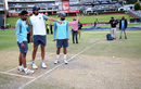 Ishant Sharma, Jasprit Bumrah and Mohammed Shami take a look at the pitch, South Africa v India, 3rd Test, Johannesburg, 4th day, January 27, 2018