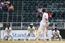 Dean Elgar tries to sway out of the line of a short ball, South Africa v India, 3rd Test, Johannesburg, 4th day, January 27, 2018