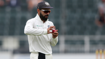 Virat Kohli tries to maintain the shine on the ball