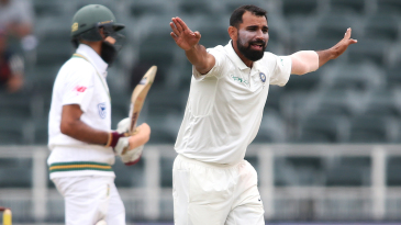 Mohammed Shami appeals for a wicket
