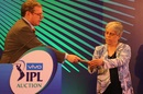 Diana Edulji picks the player bails at the IPL auction, Bengaluru, January 28, 2018