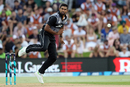 Ish Sodhi in his follow through, Pakistan v New Zealand, 3rd T20I, Mount Maunganui, Jan 28, 2018