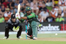 Sarfraz Ahmed lunges to sweep one, Pakistan v New Zealand, 3rd T20I, Mount Maunganui, Jan 28, 2018