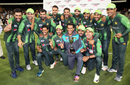 The Pakistan team pose with the trophy, Pakistan v New Zealand, 3rd T20I, Mount Maunganui, January 28, 2018