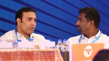 VVS Laxman and Muttiah Muralitharan engage in discussion at the IPL auction