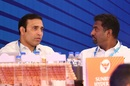 VVS Laxman and Muttiah Muralitharan engage in discussion at the IPL auction, Bengaluru, January 28, 2018
