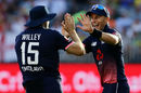 Tom Curran and David Willey celebrate the wicket of Marcus Stoinis , Australia v England, 5th ODI, Perth, January 28, 2018