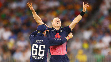 Tom Curran celebrates the match-winning wicket