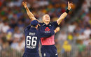 Tom Curran celebrates the match-winning wicket, Australia v England, 5th ODI, Perth, January 28, 2018