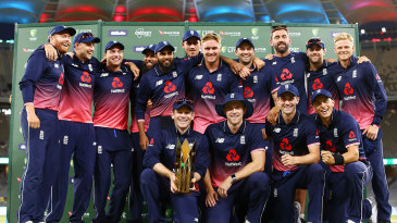 The victorious England squad