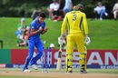 Naveen-ul-Haq celebrates Jack Edwards' dismissal, Australia v Afghanistan, U-19 World Cup semi-final, Christchurch, January 29, 2018