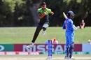 Arshad Iqbal celebrates a dismissal, Pakistan v India, U-19 World Cup semi-final, Christchurch, January 30, 2018