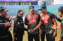 Sunzamul Islam gets a message from Khaled Mahmud after receiving his Test cap, Bangladesh v Sri Lanka, 1st Test, Chittagong, 1st day, January 31, 2018