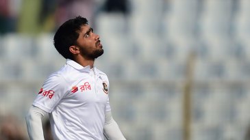 Mominul Haque looks to the skies after reaching his century