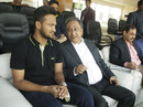 Shakib Al Hasan chats with BCB president Nazmul Hassan, Bangladesh v Sri Lanka, 1st Test, Chittagong, 1st day, January 31, 2018