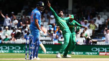 Rohit Sharma was trapped leg before for a duck by Mohammad Amir