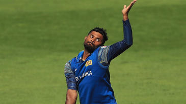 Seekkuge Prasanna in action for Sri Lanka