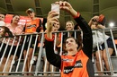 Jhye Richardson poses for selfies with fans, Perth Scorchers v Hobart Hurricanes, BBL 2017-18 semi-final, Perth