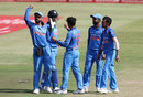 The Indian players celebrate David Miller's wicket, South Africa v India, 1st ODI, Durban, February 1, 2018