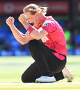 Sarah Aley celebrates one of her four wickets, Sydney Sixers v Adelaide Strikers, WBBL 2017-18, 2nd semi-final, Adelaide, February 2, 2018