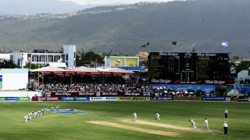 A general view of the England slips cordon at Sabina Park