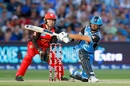 Jake Weatherald sweeps the ball fine, Adelaide Strikes v Melbourne Renegades, BBL 2017-18 semi-final, Adelaide, February 2, 2018
