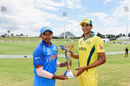 Prithvi Shaw and Jason Sangha pose with the Under-19 World Cup trophy, Australia v India, U-19 World Cup final, Mount Maunganui, February 2, 2018