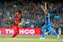 Kieron Pollard looks on after missing a Ben Laughlin delivery for a victory off the last ball, Adelaide Strikers v Melbourne Renegades, BBL 2017-18, Adelaide, February 2, 2018