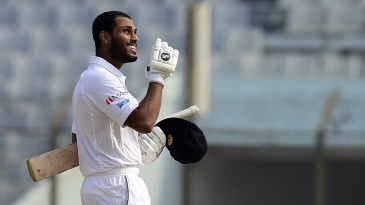 Roshen Silva celebrates his maiden Test ton