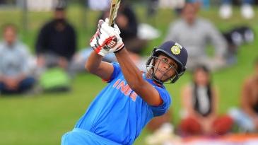 Manjot Kalra hits down the ground
