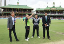 David Warner flips the coin as Kane Williamson looks on, Australia v New Zealand, Trans-Tasman T20, Sydney, February 3, 2018