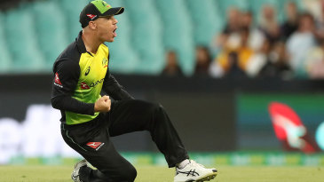 David Warner fist-pumps in celebration after taking a catch