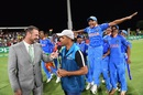 Prithvi Shaw and his team-mates celebrate as Rahul Dravid is interviewed, Australia v India, Under-19 World Cup, final, Mount Maunganui, February 3, 2018
